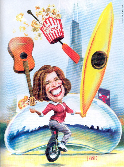 "Caricature by Broughton Quarterly for Bobbi's article, ""Her Windy City.""  Click here and then scroll to pp. 22-23."